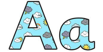 Weather Lowercase Display Lettering - weather, weather display lettering, weather display letters, weather themed display lettering, weather alphabet a-z