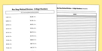 Bus Stop Method Formal Division of 2 Digit Numbers Activity Sheet - bus stop, method, formal division, 2 digit, numbers, worksheet