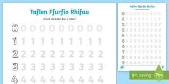 Taflen Weithgaredd Ffurfio Rhifau 0 i 9 - rhif, rhifedd, ysgrifennu, trasio, number formation