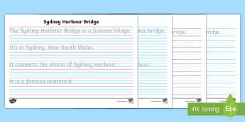 Sydney Harbour Bridge Year 2 Handwriting Practice Activity Sheet - Australian landmark, cursive, letter formation, fine motor, australian history,Australia