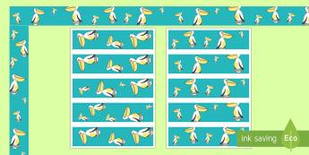 Pelican Display Border Pack - Writing, Borders, Decorative, Key Stage One, Bird, water Bird, Literacy, Story, Themed, seaside