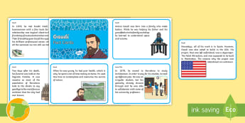 Gaudi Fact Cards - famous, artists, Modernism, architect, architecture,