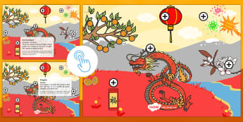 Chinese New Year Picture Hotspots English/Portuguese - Chinese New Year KS1, EYFS, Celebration, festivals, rooster, fireworks, lanterns, red envelopes, flo
