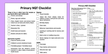 Primary NQT Tips and Checklist - primary, nqt, tips, checklist