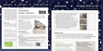 John Lewis Wonderful Woolly Monsters Lesson Plan - Moz The Monster, John Lewis, Christmas 2017, Christmas, Moz, Advert, Imagine, Monster, Monster Under