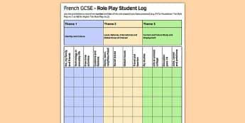 GCSE Role-Play Student Record Sheet French - admin, log, pupil, speaking,oral, organisation