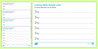 Cutting Skills Worksheets (Lines) - Scissor skills, cutting, cutting worksheet, using scissors, cutting skills, fine motor skills