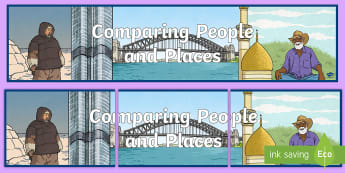 Comparing People and Places Display Banner - display, contrast, cultures, contrasting people, illustration, geography, cultures, label, hot and c