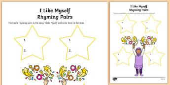 I Like Myself Rhyming Pairs - usa, america, i like myself, all about me, rhyming pairs, rhyme, pair