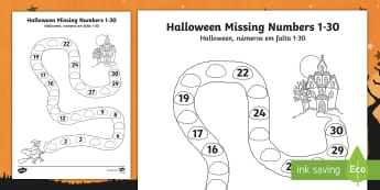 Halloween Spooky House Missing Numbers to 30 Activity Sheet English/Portuguese - Halloween, numbers, counting, maths, worksheet, activity sheet, eal