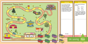 UKS2 Theme Park Problem Solving Board Game - UKS2 Theme Park Problem Solving Board Game - Problem solving, theme park, game, fun fair, Word Probl
