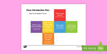 Class Introduction Questions Dice Net English/Portuguese - Class Introduction Questions Dice Net - class introduction, questions dice, introduction, questions,