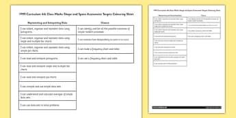 1999 Curriculum 5th Class Maths Data Assessment Targets Colouring Sheet - roi, gaeilge, maths, curriculum, 1999