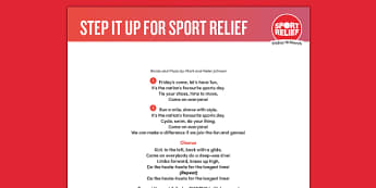 Sport Relief 2016: Step It Up for Sport Relief! Song Lyrics (Primary) - sport relief 2016, lyrics