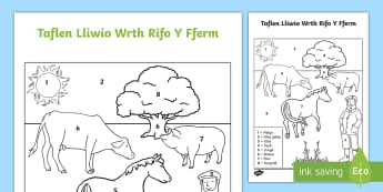 Taflen Lliwio Wrth Rifo Y Fferm - lliwio wrth rhifo, WLW Gwanwyn (Spring  20.3.17) fferm, rifo wrth lliwio, dilyn cyfarwyddiadu, mathemateg,Welsh