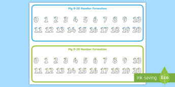 0-20 Number Formation Prompt Strip Desk Mat - Number Formation Tracing Strips 0-20 - number formation, number, formation, tracing strips, 0-20,num