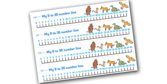 The Gruffalo Number Tracks 0 30 -  the gruffalo, number tracks, numberlines, 0-10, gruffalo themed numbertracks, gruffalo themed numberline