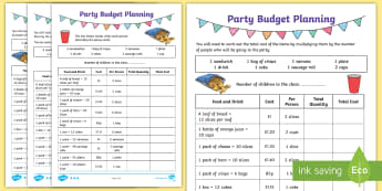 LKS2 Party Budget Planning Differentiated Activity Sheets - world maths day, amazing maths day, costs, Quantity, real life problems