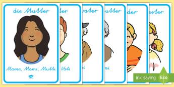 Meine Familie Poster für die Klassenraumgestaltung - Eltern, Großeltern, Geschwister, Verwandte, Verwandtschaft, ,German