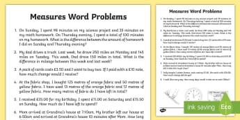 Measure Word Problems Worksheet / Activity Sheet - Math word problems, measures word problems, 4.MD.A2, work problems, problem solving, money, length,