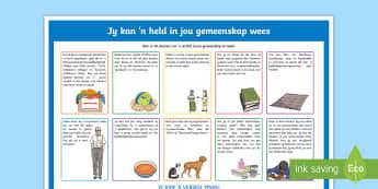 Jy kan 'n held in jou gemeenskap wees Display Facts Posters - Afrikaans - South Africa Youth Day 16 June, held, gemeenskap, plakkat, help