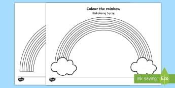 Colour The Rainbow - English/Polish - Colour the Rainbow Worksheet - Rainbow colouring sheet, colouring sheet, colour, seasons, rainbow, n