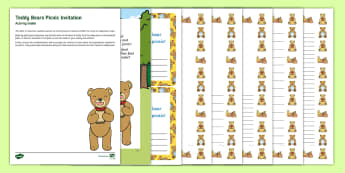 Editable Teddy Bears Picnic Invitation and Resource Pack - EYFS, Early Years, KS1, Key Stage 1, Topic Started, Topic Hooks, Wow Activities, Toys, Teddy Bear, T