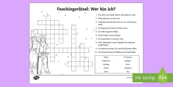 Faschingskostüme Rätsel Erstes Lesen Arbeitsblatt - Fasching, Karneval, Fastnacht, Rätsel, Kostüm, Erstes Lesen, German