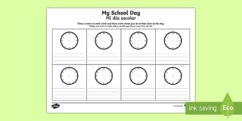My School Day Activity Sheet English/Spanish - My School Day Worksheet - timetable, daily routine, transition, rountines, Timw, trasition, bump up