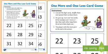 Y1 One More and One Less Maths Mastery Game - Reason, Explain, Concrete, Pictorial, Abstract, CPA, Shanghai, Singapore.