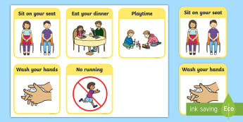 Dinner Time Behaviour Cards - lunchtime, rules, routines, behaviour, targets, award, reward, behaviour management, Early Years (EY