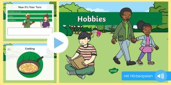 Meine Hobbys PowerPoint Präsentation - Hobbies, Freizeit, Aktivitäten, Aussprache, Vokabular,