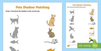 Pets Shadow Matching Worksheet / Activity Sheet - EYFS, Early Years, Pets, Animals, National Pet Month, cat, dog, rabbit, matching game.