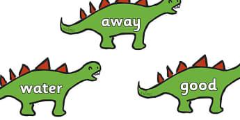 Next 200 Common Words on Dinosaurs - Next 200 common words, dinosaur, DfES Letters and Sounds, Letters and Sounds, Letters and sounds words, Common words, 200 common words, t-rex, stegosaurus, raptor, iguanodon, tyrannasaurus rex