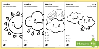 Weather Colour by Number Counting Activity Sheet Activity Sheet Arabic/English - Weather Colour by Number Counting Activity Sheet - colour, number, counting, activity, colour by num