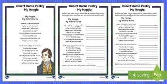 Robert Burns Poetry My Hoggie Worksheet / Activity Pack - CfE Literacy, scots, robert burns, poetry, poems, burns, burns night, Scottish