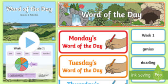 Year 2 Autumn 2 Word of the Day Display Pack - vocabulary, PowerPoint, Word cards, nouns, adjectives, adverbs, verbs, multisyllabic words.