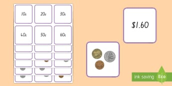 Money (to $2- Mixed coins) Matching Cards - New Zealand, Maths, $2, Coins, Money, Matching cards