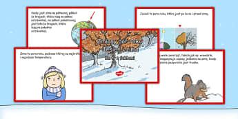 Karty z wyzwaniami Zmiany pór roku po polsku - zima, jesień