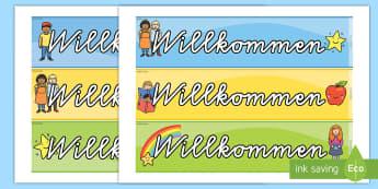 Willkommen Rahmen zum Ausdrucken für die Klassenraumgestaltung - Willkommen Rahmen zum Ausdrucken für die Klassenraumgestaltung, Willkommen Klassenraumgestalung, Wi