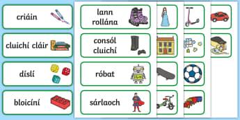 Bréagáin Word Cards Gaeilge - Gaeilge, Irish, Toys, bréagáin, toy, bréagán, caitheamh aimsire, hobbies, playing, ag súgradh,I