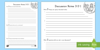 Discussion Notes 3-2-1 Activity Sheet - Group Work, Centers, Reading Response, Speaking and Listening, Speaking, Listening