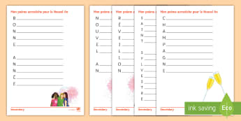 New Year Acrostic Poems Activity Pack French - writing, creative, poetry, nouvel, An,French