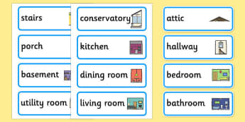 Parts of a House Word Cards - parts of a house, word cards, word, cards, parts, house, rooms in the house,
