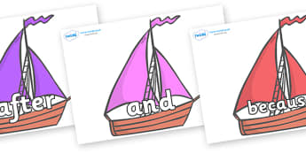 Connectives on Sailing Boats to Support Teaching on Where the Wild Things Are - Connectives, VCOP, connective resources, connectives display words, connective displays