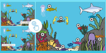 Under the Sea Prepositions Picture Hotspots - EYFS, Early Years, KS1, Under the Sea, fish, Rainbow Fish, prepositions, positional language, Twinkl Go, twinkl go, TwinklGo, twinklgo