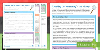 'Checking Out Me History' The History Activity Sheet - poetry, GCSE, KS4, AQA anthology, power and conflict, black history month, poetry context