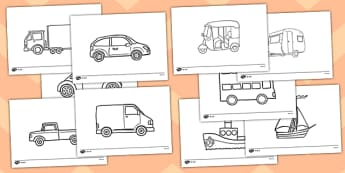 Transport Template Worksheet / Activity Sheet Pack -  roads, cars, transport, vehicle, colouring, worksheet, template, activity