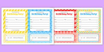 3rd Birthday Party Invitations - 3rd birthday party, 3rd birthday, birthday party, invitations