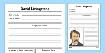 Scottish Significant Individuals David Livingstone Writing Frame - Scottish significant individual, explorer, Christian missionary, Africa, Victoria Falls, Zambezi, slave trade, anti-slave